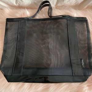NEW LANCOME BLACK CLEAR NET TOTE BAG